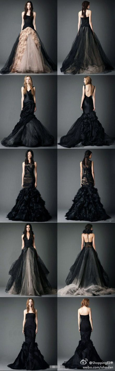 Vera Wang's Dark wedding dresses. I would never have a black wedding dress, but I'm obsessed.: