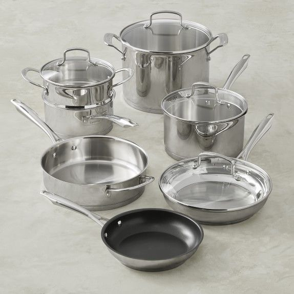 Cuisinart Professional Series Stainless Steel 11 Piece Cookware Set Williams Sonoma Cookware Set Stainless Steel Cookware Set Pots And Pans Sets Cuisinart 11 piece cookware set