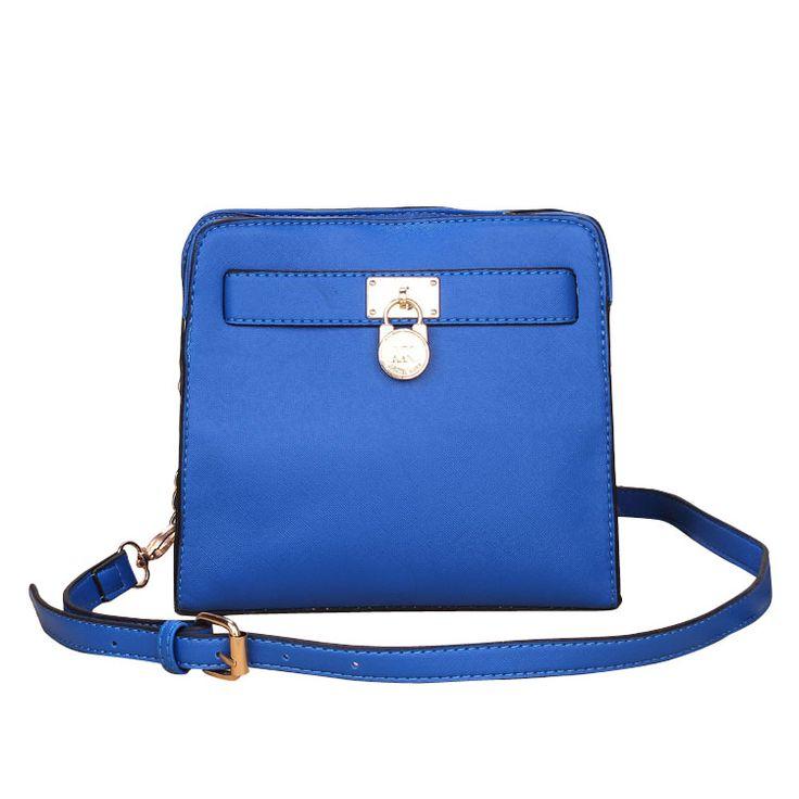 Michael Kors Outlet Hamilton Lock Medium Blue Crossbody Bags $65.99 This bag is