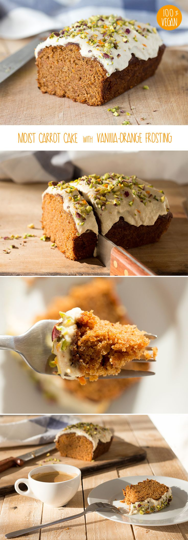 This carrot cake loaf with orange vanilla frosting captured my attention! It would be great as a neighbor gift or to hide in the closet and enjoy myself!  #vegan #dairyfree