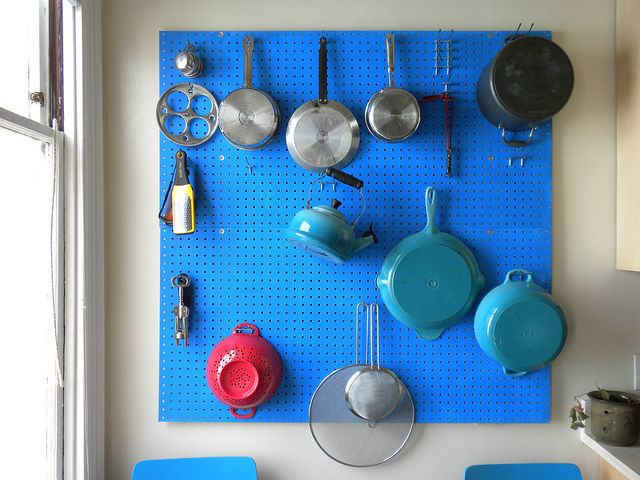 Apartment living: can't paint the walls + minimal cabinet space = painted DIY pegboard by alicen, via Flickr