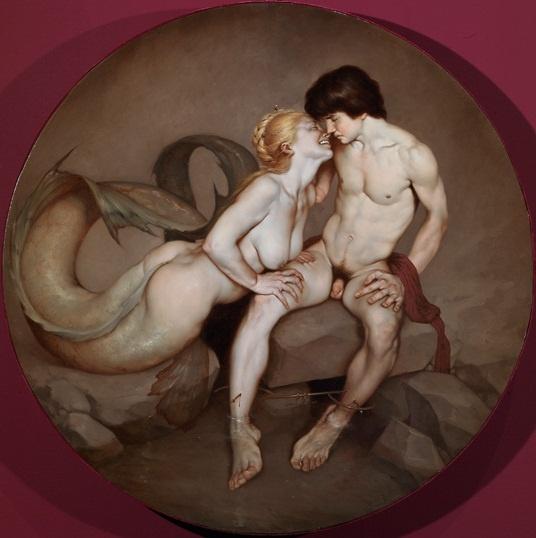 Roberto Ferri - Hermaphroditus, and Salmacis. Tags: hermaphroditus, hermafroditos, salmacis, salmakis, nymphs, naiads, metamorphoses, transformations,