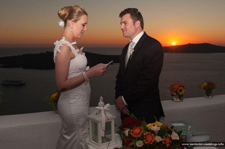 sunset wedding santorini