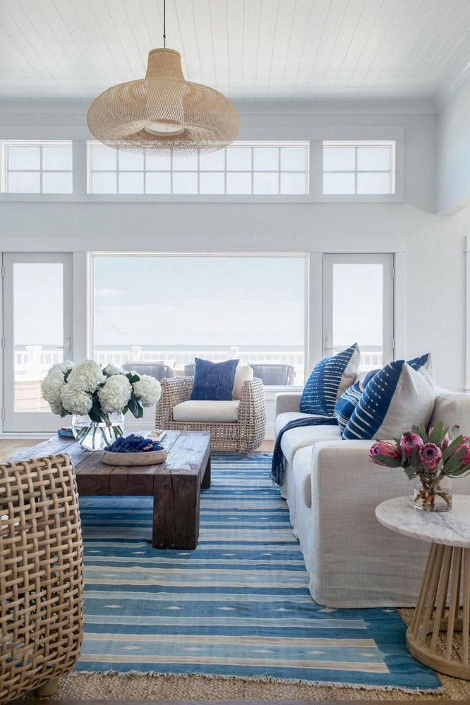 Our Tips To Add Home Accessories Into Your Living Room Blue And White Living Room Coastal Living Rooms Seaside House