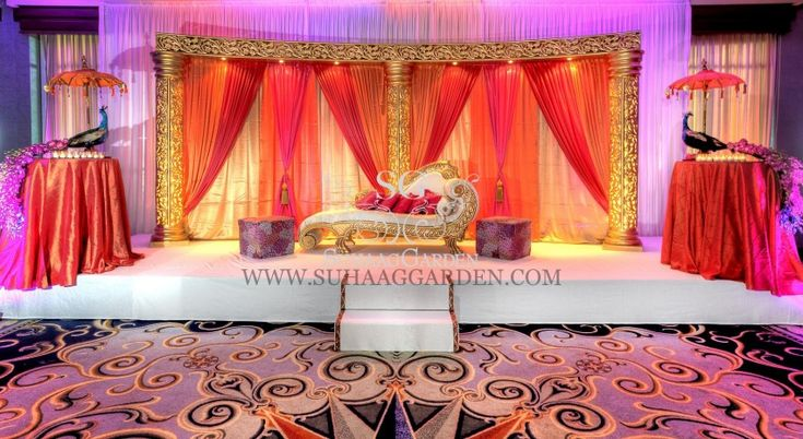 Suhaag Garden, Florida Indian Wedding Decorator, California Indian Wedding Decorator, Mehndi Stage, Sangeet Stage, Colorful Drapery, Bride and Groom Seating, Garba Focal Point, Sangeet Focal Point