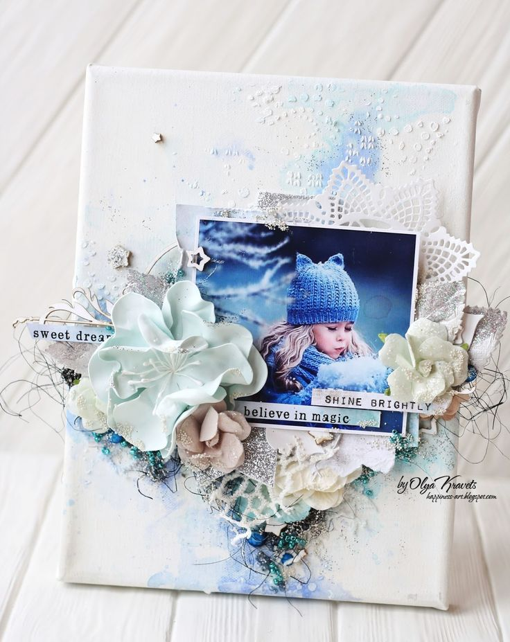 Canvas, scrapbooking, Olya Kravets, cotton candy, 7 dots studio, winter magic, Scrap, mixed-media, холст, скрапбукинг, Ольга Кравец