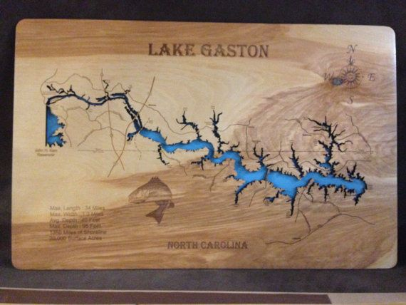 This is a beautifully detailed, laser engraved and precision cut topographical Map of Lake Gaston in Halifax, Northampton, and Warren counties, North Carolina and part extending into Brunswick and Mecklenburg counties, Virginia with the following interesting stats carved into it:
