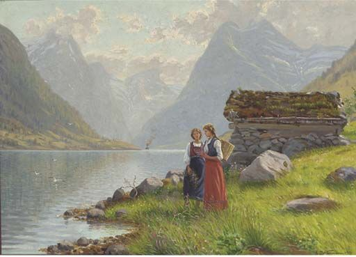 Emma Pastor Normann (1871-1954 ): Flower pickers at a Norwegian fjord, 1918