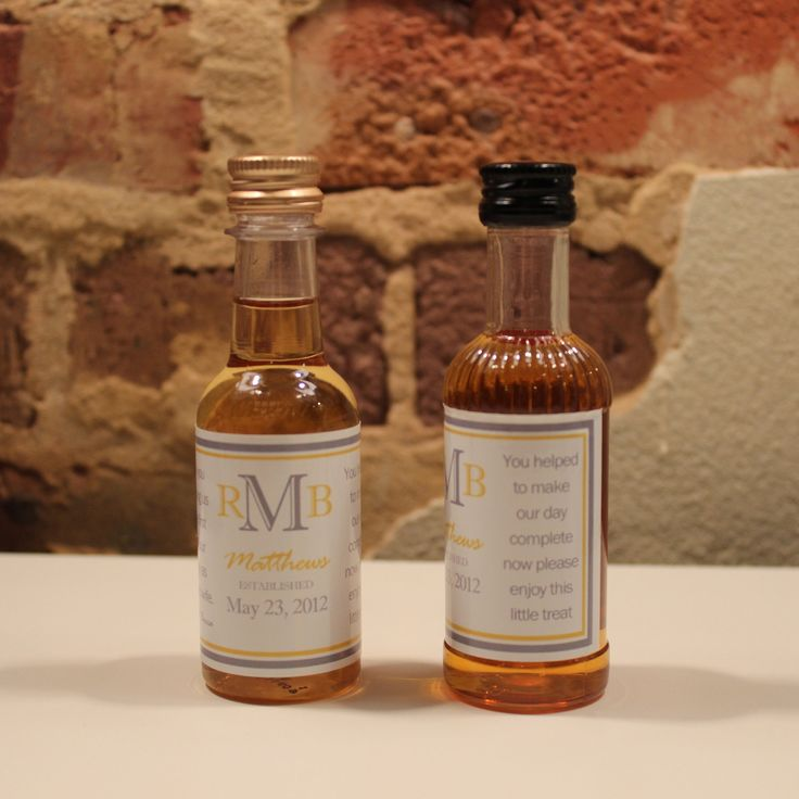 50 Custom Mini Liquor Bottle Labels Wedding Favors Thank You Captain Morgan Rum Southern Comfort Whiskey Party Favor Groomsmen Gifts. $33.00, via Etsy.