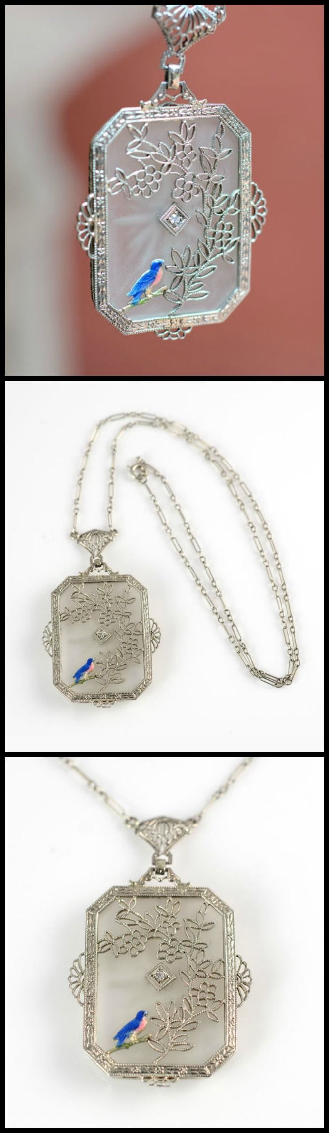 Three views - an antique Art Deco camphor glass and filigree necklace with an unusual enameled bird detail and classic paperclip chain