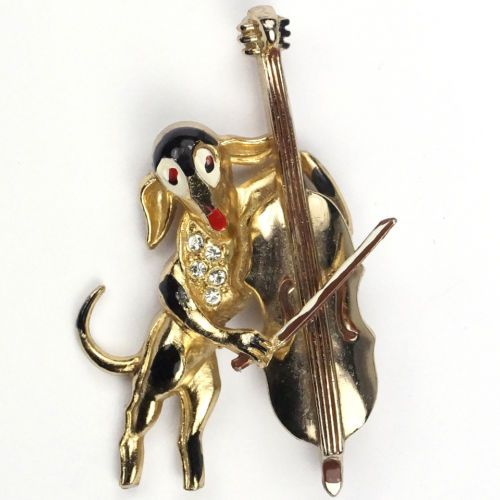 $585   Coro-Gold-Pave-and-Enamel-Spotty-Dog-Playing-the-Cello-Music-Pin