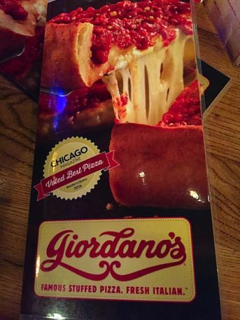 Giordano's Front of the menu. Yummy Chicago Deep Dish ©2015 HollyDayz: