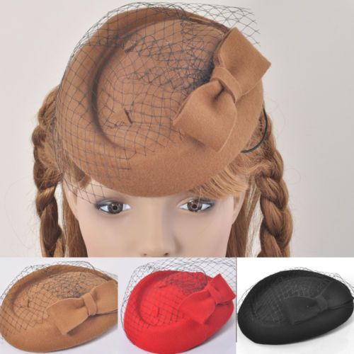 new-lady-church-hair-accessory-pillbox-felt-hat-bowknot-fascinator-winter-formal