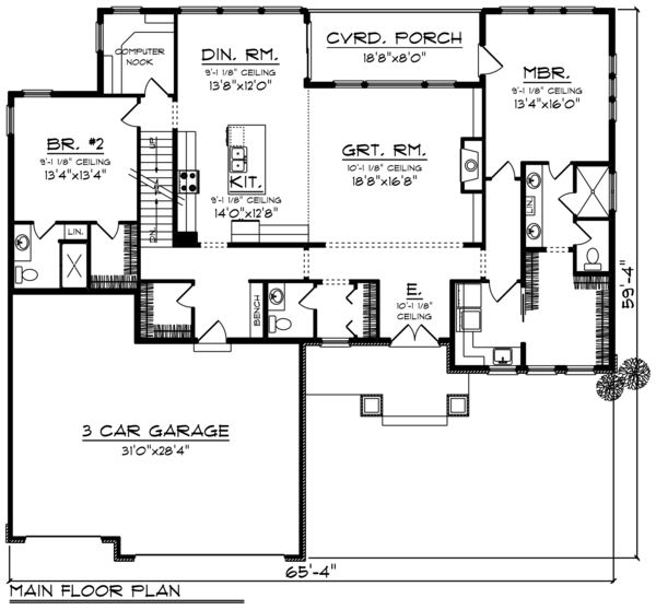 Ranch Style House Plan 2 Beds 2 5 Baths 2096 Sq Ft Plan 70 1461