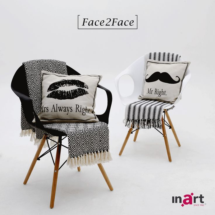 Which chair-throw-pillow combination do you like the most? #inart #HomeDecor #Decoration #FurnitureDesign #Furniture #Chairs #Throws #Pillows #BlackAndWhite