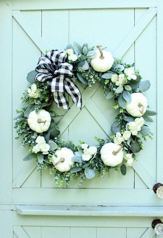 Fall Wreath Autumn Wreath White Pumpkin Wreath Neutral Etsy Farmhouse Fall Wreath Door Wreaths Fall Fall Wreaths