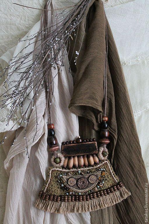 Купить Этностиль(колье) - хаки, колье, этно, бохо украшения, бохо, ткань, бусины…