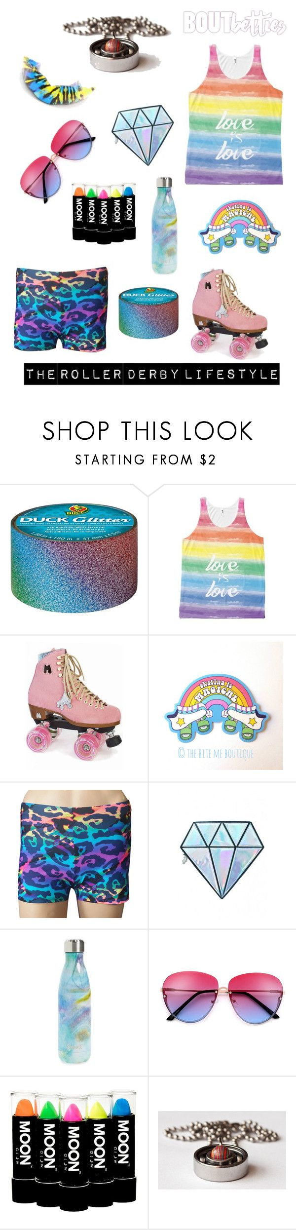 Roller derby fashion by Bout Betties on Polyvore featuring Unicorn Lashes, S'well, Moxi, roller derby #BAbetties