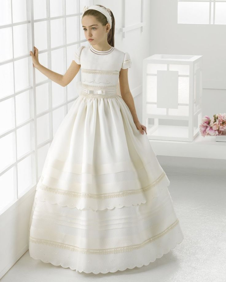 Jewel Neck Scallopped Short Sleeve Ball Gown Oragzna First Communion Dress