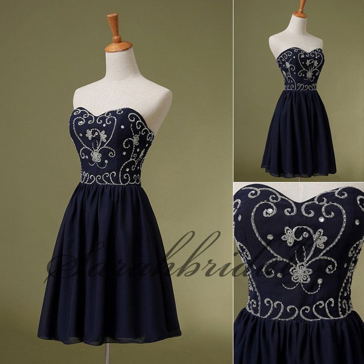 2014 Navy Blue Chiffon Short Homecoming Dresses New Girls Prom Party Mini Gowns #handmade #Formal #dress