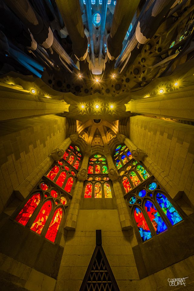 inside of Sagrada Família photo by Clement Celma
