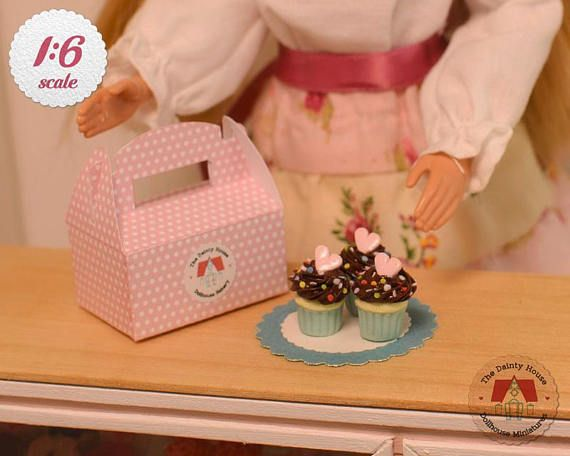 Miniature Chocolate Cupcakes for Barbie or Blythe, 1:6 Scale Cupcakes, Miniature Cupcakes with Box, Dollhouse Desserts