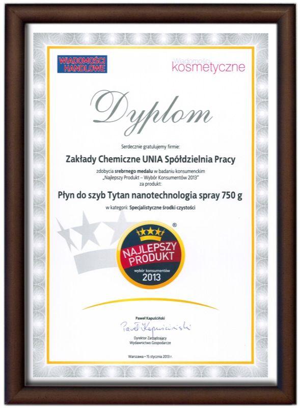 Najlepszy Produkt 2013 - Płyn do mycia szyb Tytan nanotechnologia 750ml
