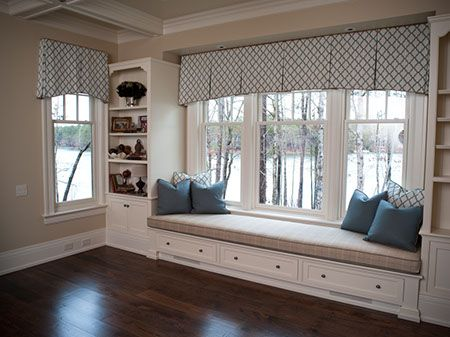 Valance box pleats over 3 windows window treatments for Living room ideas with 3 windows