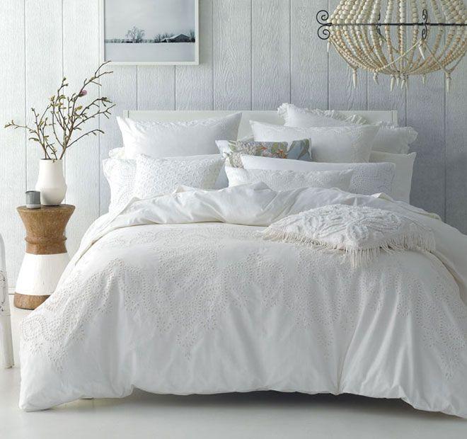 Linen House Naturals Rosie Quilt Cover Set Range White