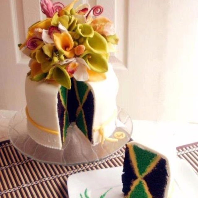Jamaican wedding cake with royal icing and flowers... Beautiful