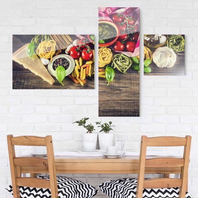 Glasbild mehrteilig - Pasta Collage 3-teilig | XXL ...