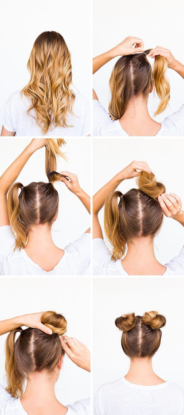 Schone Frisuren Dutt Frisur Selber Machen Frisur Mit Zwei Dutts In 2020 Hair Bun Tutorial Bun Hairstyles Hair Tutorial