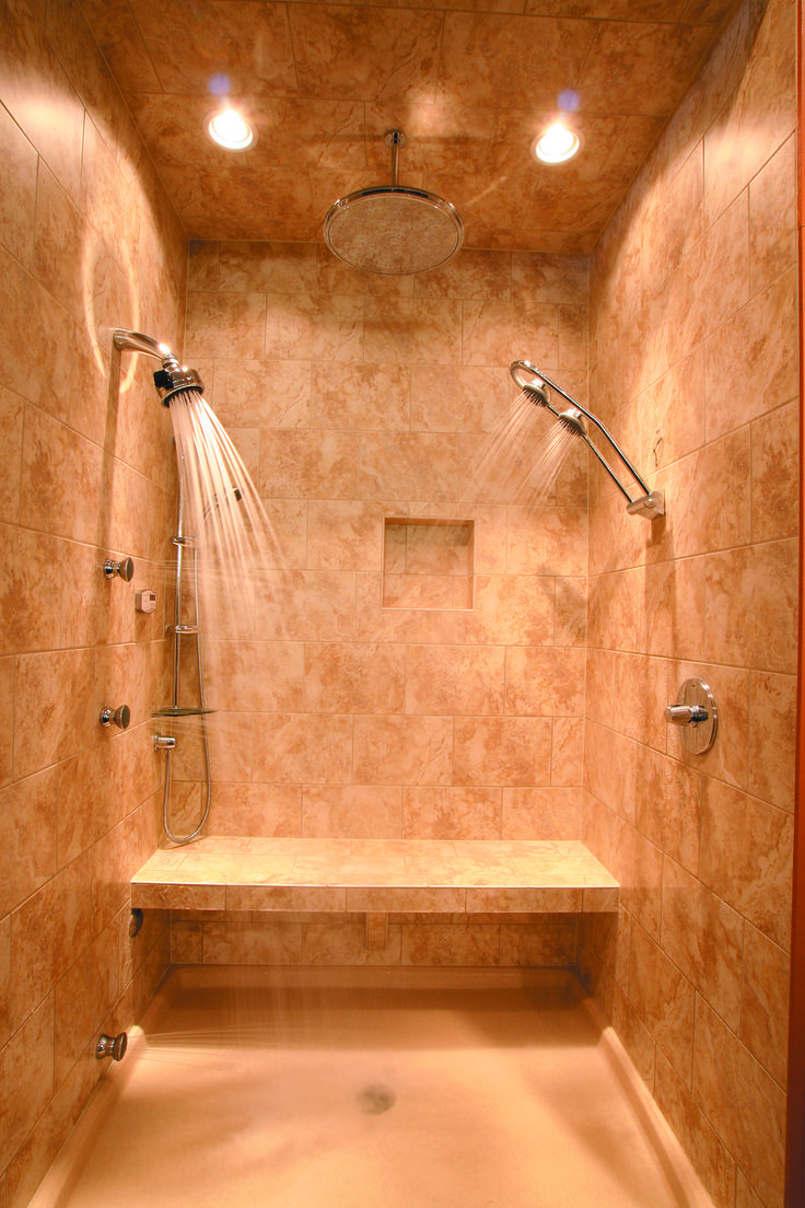 Shower with heated floors?! Ahhhhh!! I so want this in my future home!: Idea, Dreams Houses, Shower Head, Heat Floors, Showerhead, Tile Shower, Dreams Bathroom, Master Bathroom, Dreams Shower
