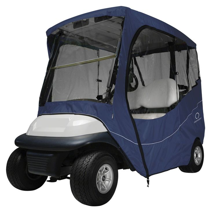 Features:  -Fast and portable protection against wind and rain for two and four-person golf carts.  -Weather Protected™ fabric won't shrink or stretch.  -Fits over roof and secures with hooks on botto                                                                                                                                                                                 More