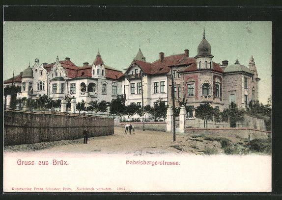 old postcard: AK Brüx / Most, Blick in die Gabelsbergerstraße