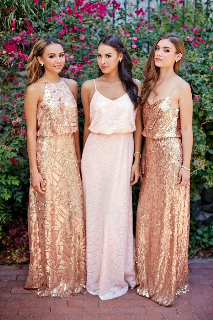 A floor-length sequin bridesmaid dress with a halter top, available in two colors. Affordable designer bridesmaid dresses to buy or rent at Vow To Be Chic.