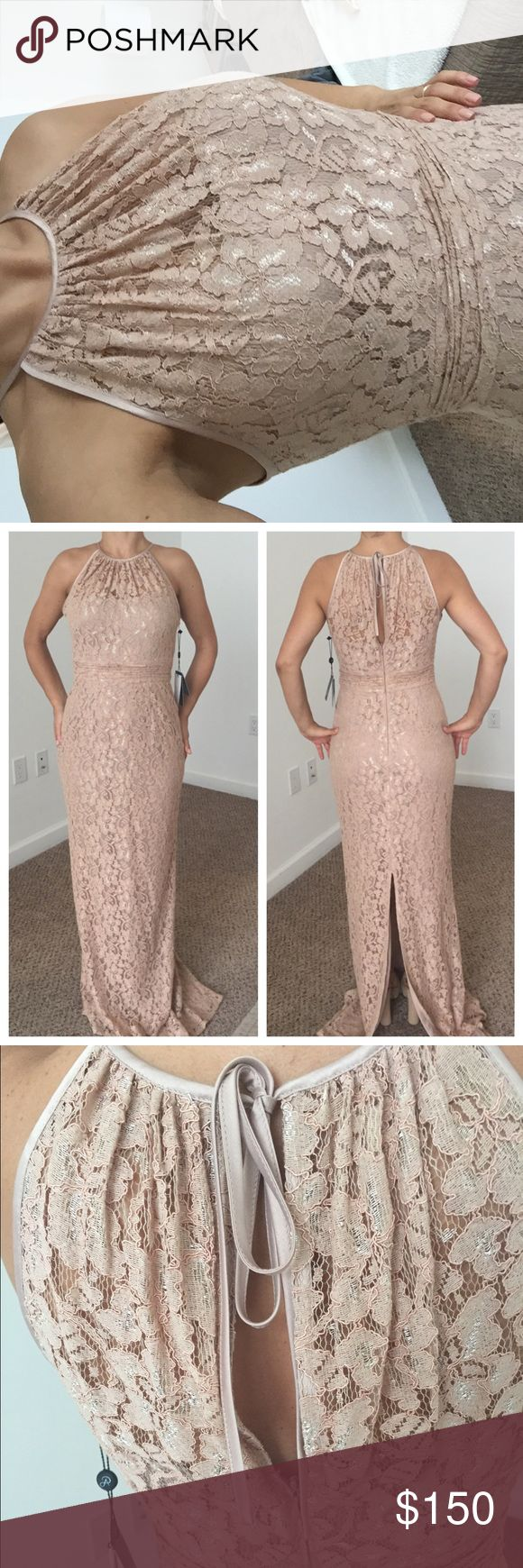 Adrianna Papell nude long dress Gorgeous floor length lace warm nude/blush color. The lace is very high end. Tags on still. Never got to wear it. No alterations done Adrianna Papell Dresses Maxi
