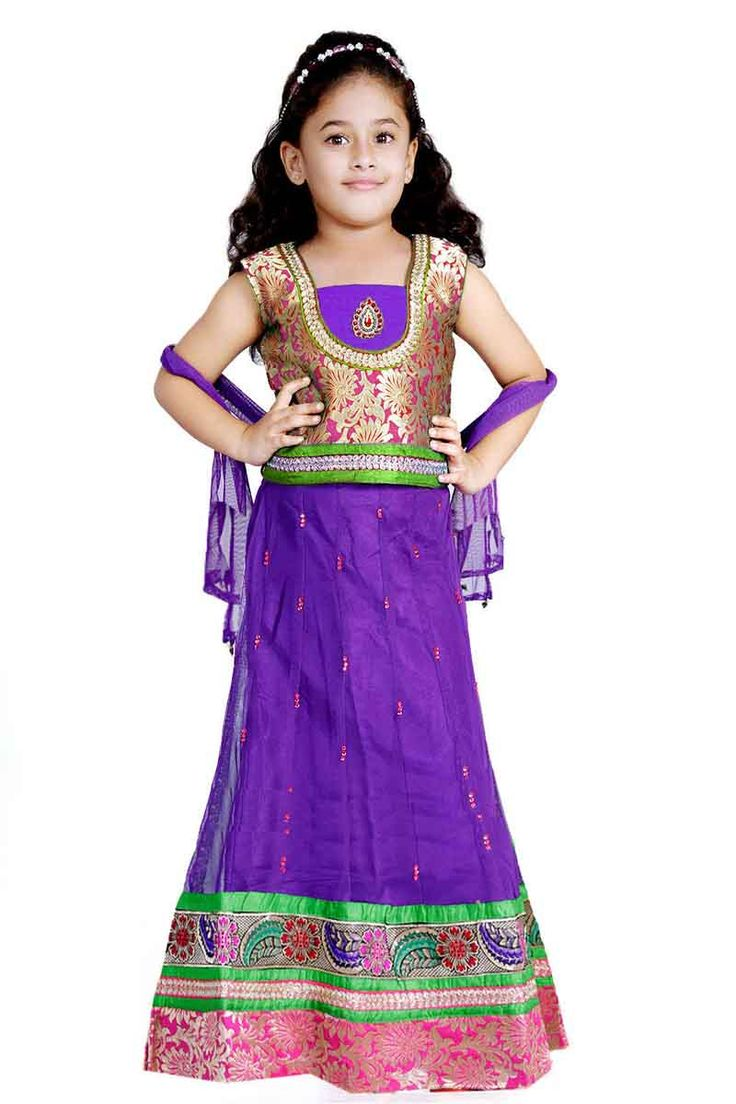 Kids readymade grand lehenga choli  size : 2 years - 12 years ( size 18 - 36) Price : Rs 1990 Free shipping all over India  http://www.princenprincess.in/index.php/home/product/139/Purple%20Net%20lehenga%20choli