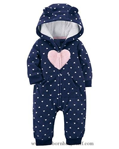 970bdf3080cf Baby Girl Clothes Carter s Baby Girls  Heart Hooded Fleece Jumpsuit ...