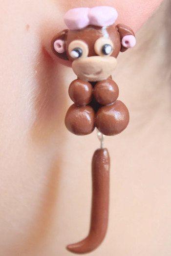 Monkey earrings gift for girl jewelry monkey tiny monkey cute monkeys jungle monkey sterling monkey funny monkey animal earring monkey love by LittleHappyBoom on Etsy