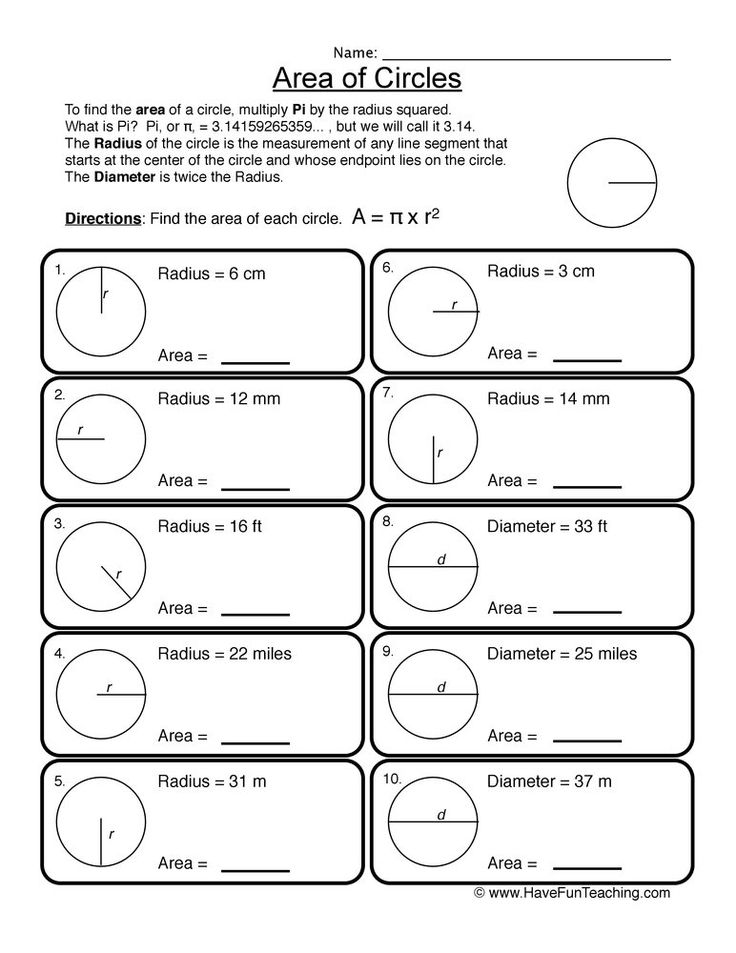Area of Circles Worksheet in 2020   Area of a circle ...