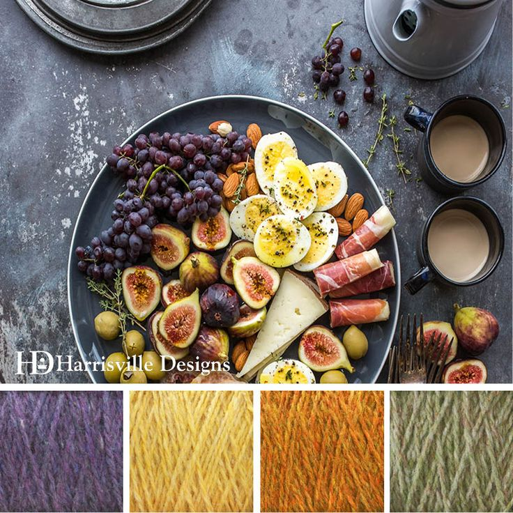 'Mediterranean Meal' color palette featuring Highland yarn in Delphinium, Cornsilk, Foliage and Jade. #resolutions