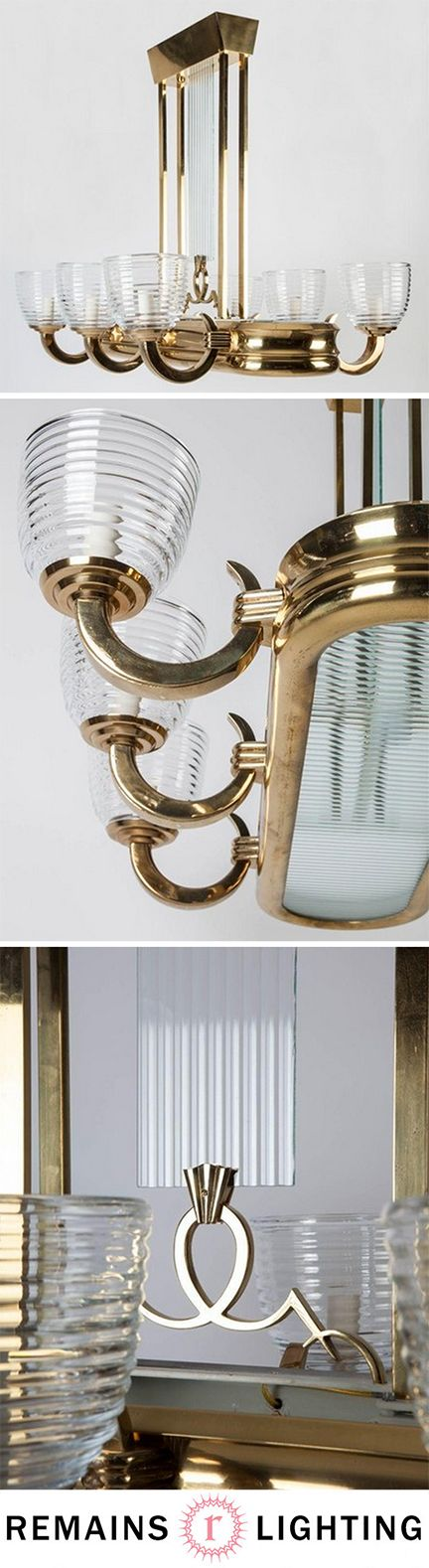 Art Deco Linear Chandelier Circa 1920 from