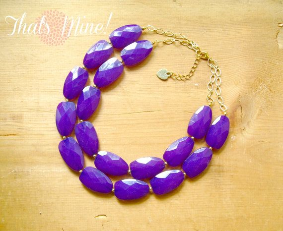 The perfect JMU necklace!  Deep Purple statement necklace eggplant by ThatsmineBoutique, $40.00.