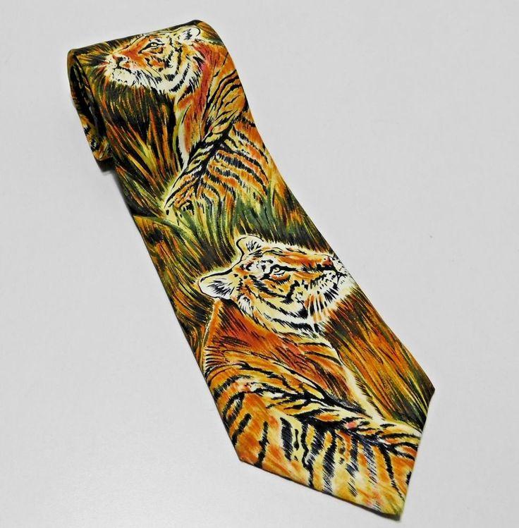 Tigers 100% Silk Novelty Tie World Wildlife Fund Made in USA Mens Necktie Brown  | eBay