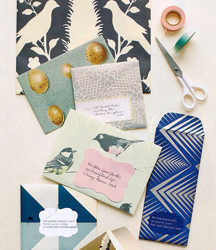 DIY Wallpaper Envelopes via Camille StylesIdeas, Diy Wedding Invitations, Wallpapers Envelopes, Paper Scrap, Envelopes Diy, Scrapbook Paper, Martha Stewart, Diy Envelopes, Snails Mail