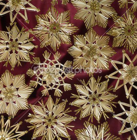 Декоративные Рождественский фон с соломы звёзд — Стоковое изображение #7356350