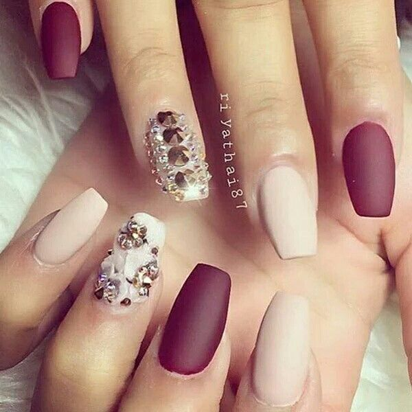 Cream and maroon nails