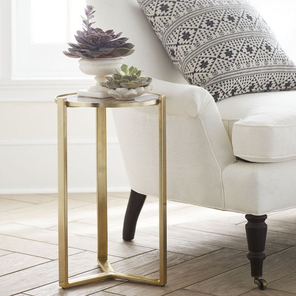 Agate and Brushed Metal Side Table - NEW