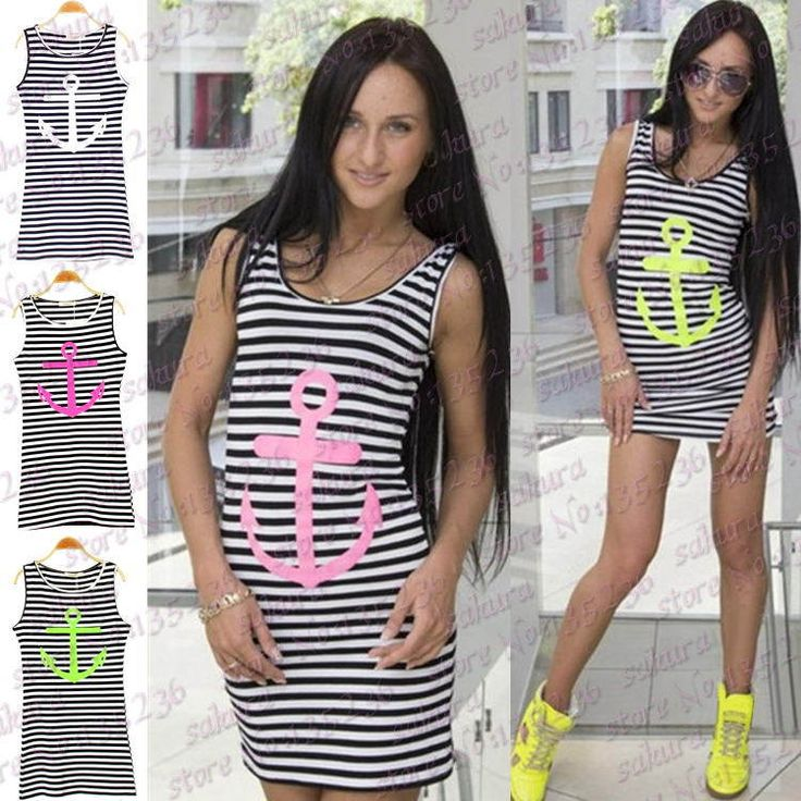 3 Colors Black Navy Striped with Printed Anchor Women dresses Sleeveless Long Tank Tops Skinny Vest Dress Plus Size S/M/L